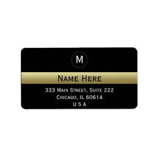 Preto e monograma inicial conhecido feito sob etiqueta de endereço