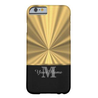 Preto e monograma metálico do ouro capa barely there para iPhone 6