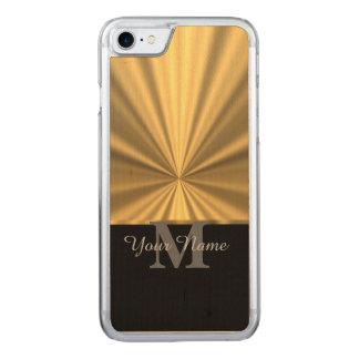 Preto e monograma metálico do ouro capa iPhone 7 carved