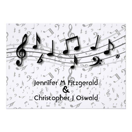 Preto e notas musicais cinzentas que Wedding Convite Personalizados