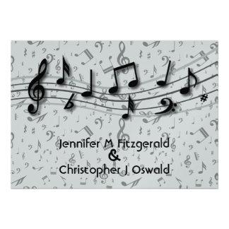 Preto e notas musicais cinzentas que Wedding Convites Personalizado