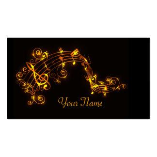 Preto e notas musicais de roda do ouro cartão de visita