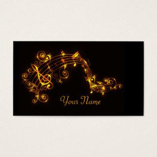 Preto e notas musicais de roda do ouro cartão de visitas