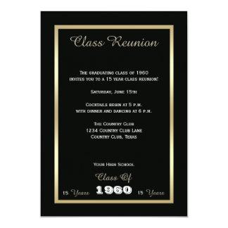 Preto e ouro da reunião de turma da escola convite 12.7 x 17.78cm
