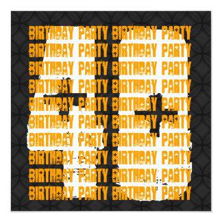 Preto e ouro do aniversário de 40 anos do Grunge Convite Personalizados