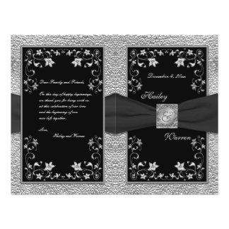Preto e programa floral do casamento do peltre flyer 21.59 x 27.94cm