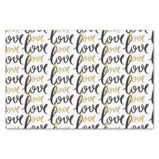 Preto e teste padrão do amor do ouro papel de seda