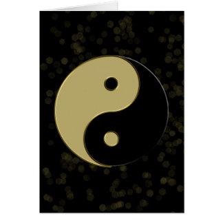 preto e yin yang do ouro cartão comemorativo