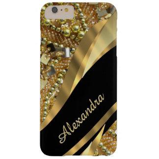 Preto elegante chique personalizado e ouro que capa barely there para iPhone 6 plus