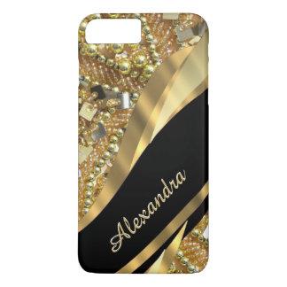 Preto elegante chique personalizado e ouro que capa iPhone 7 plus