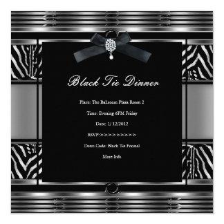 Preto elegante da prata da zebra do comensal de convite quadrado 13.35 x 13.35cm
