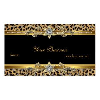 Preto elegante do leopardo do ouro elegante cartão de visita