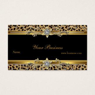 Preto elegante do leopardo do ouro elegante cartão de visitas
