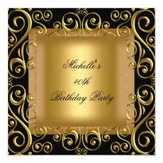 Preto elegante do ouro do partido de aniversário convite quadrado 13.35 x 13.35cm