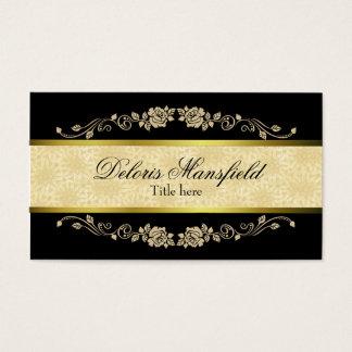 Preto elegante e cartão de visita do damasco de