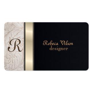 Preto elegante profissional do monograma cartão de visita