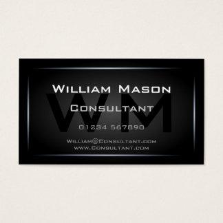 Preto elegante profissional quadro do monograma cartão de visitas
