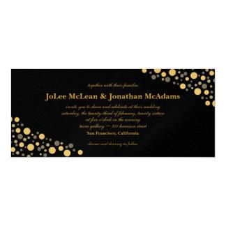 Preto & festa de casamento dos confetes do ouro convite 10.16 x 23.49cm