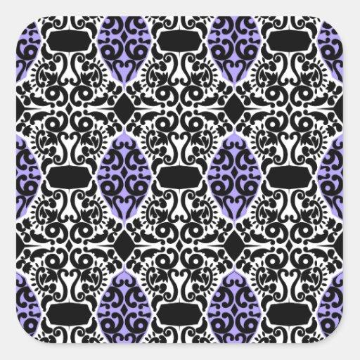 Preto filigrana com roxo apaixonado adesivos quadrados