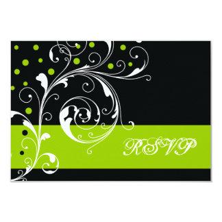 Preto floral da folha do rolo, RSVP wedding verde Convite 8.89 X 12.7cm