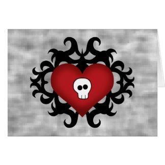 Preto gótico bonito super e vermelho do coração do cartão comemorativo