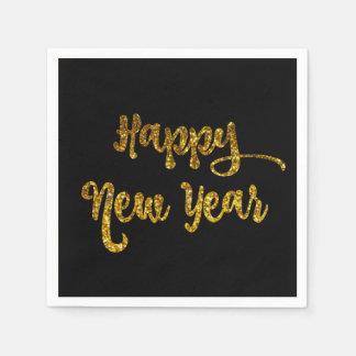 Preto & guardanapo do feliz ano novo do brilho do