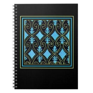 Preto impressionante do verde azul dos redemoinhos caderno