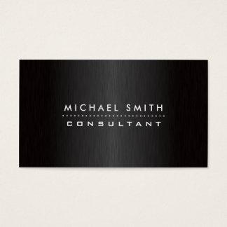 Preto moderno elegante profissional metal escovado cartão de visitas