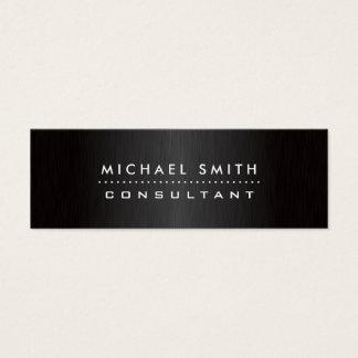Preto moderno elegante profissional metal escovado cartão de visitas mini