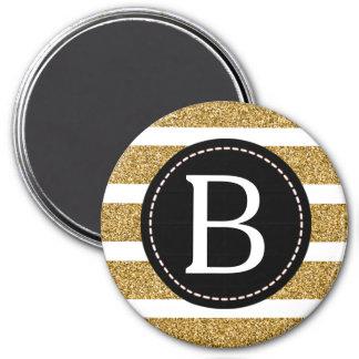 Preto & monograma do brilho do ouro ímã redondo 7.62cm