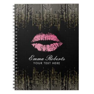Preto na moda dos lábios do rosa quente & confetes cadernos espiral