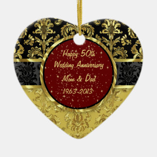 Preto & ornamento do aniversário de casamento do