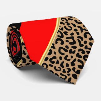 Preto, ouro e leopardo diagonal vermelho da listra gravata