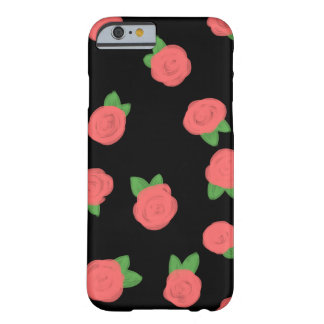 Preto Pastel dos rosas Capa Barely There Para iPhone 6
