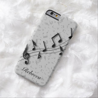 Preto personalizado e notas musicais cinzentas capa barely there para iPhone 6