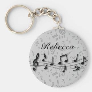 Preto personalizado e notas musicais cinzentas chaveiro