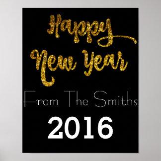 Preto & poster do feliz ano novo do brilho do ouro