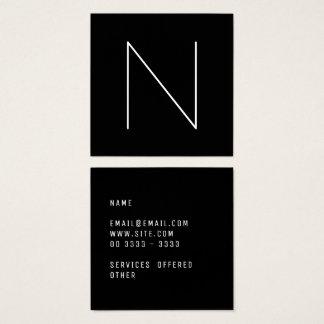 Preto profissional liso mínimo elegante cartão de visitas quadrado