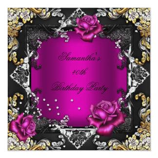 Preto rico da prata do ouro do rosa do rosa da convite quadrado 13.35 x 13.35cm