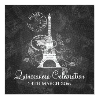 Preto romântico de Paris do partido da celebração Convite Quadrado 13.35 X 13.35cm