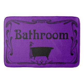 Preto roxo da cuba do vintage do banheiro do tapete de banheiro