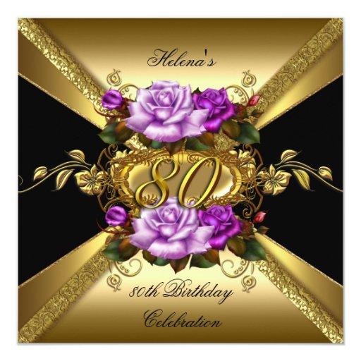 preto roxo dos rosas do ouro da festa de convite quadrado 1335 x 13