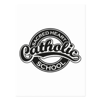 Preto sagrado da escola católica do coração cartoes postais
