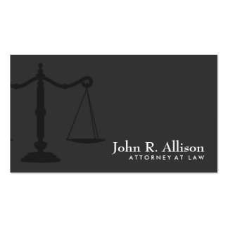 Preto simples do advogado da escala de justiça cartão de visita