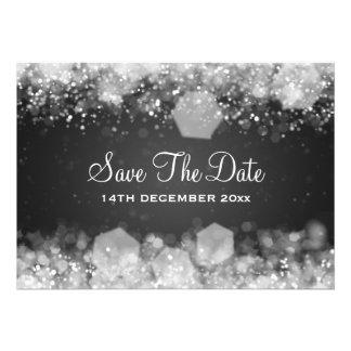 Preto Sparkling da noite do casamento no inverno Convite Personalizado