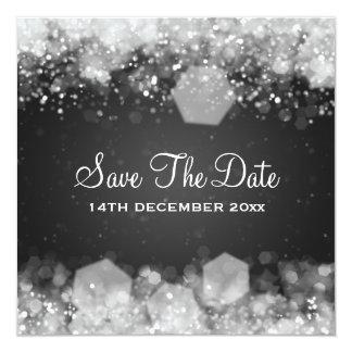 Preto Sparkling da noite do casamento no inverno Convites Personalizado