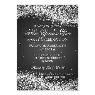Preto Sparkling da onda da véspera de ano novo Convite Personalizados