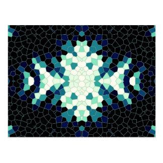 Preto & teste padrão de mosaico da cerceta cartão postal