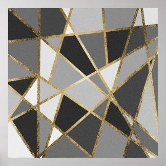 Preto & triângulos modernos cinzentos do ouro de pôster