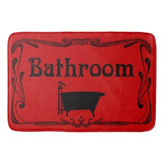 Preto vermelho da cuba do vintage do banheiro do tapete de banheiro
